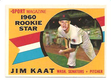 1960 Topps #136 Jim Kaat RC NM Actual scan front image