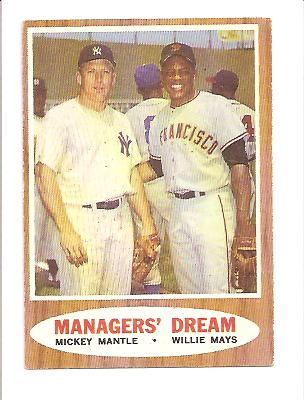 1962 Topps #18 Managers Dream (Mickey Mantle and Willie Mays) front image