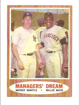 1962 Topps #18 M.Mantle/W.Mays EXMT Actual scan front image