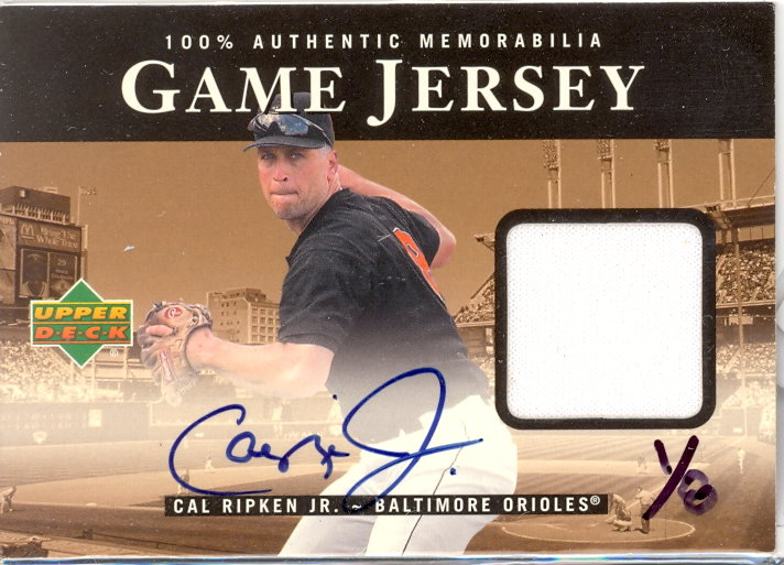 2000 Upper Deck Game Jersey Autograph Numbered #CR Cal Ripken/8 H2