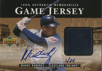2000 Upper Deck Game Jersey Autograph Numbered #MR Manny Ramirez/24 H1