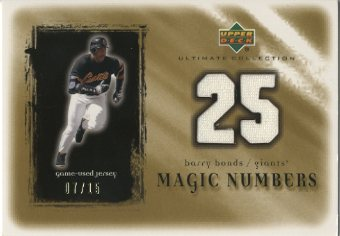 2001 Ultimate Collection Magic Numbers Game Jersey Gold #MNBB Barry Bonds