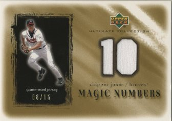 2001 Ultimate Collection Magic Numbers Game Jersey Gold #MNCJ Chipper Jones