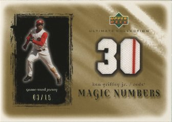 2001 Ultimate Collection Magic Numbers Game Jersey Gold #MNKG Ken Griffey Jr.