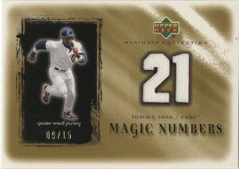 2001 Ultimate Collection Magic Numbers Game Jersey Gold #MNSS Sammy Sosa