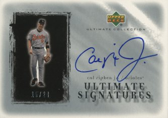 2001 Ultimate Collection Signatures Silver #CR Cal Ripken