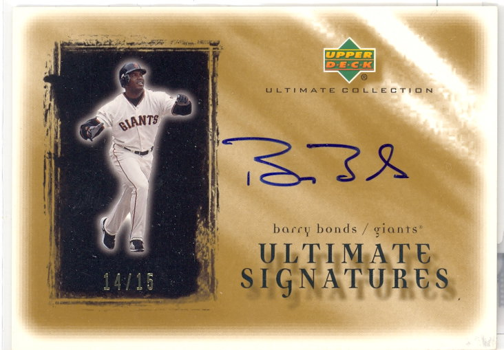 2001 Ultimate Collection Signatures Gold #BAB Barry Bonds