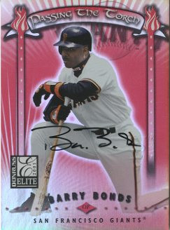 2001 Donruss Elite Passing the Torch Autographs #PT4 Barry Bonds