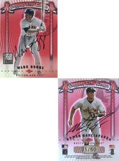2001 Donruss Elite Passing the Torch Autographs #PT23 Wade Boggs/Nomar Garciaparra FB