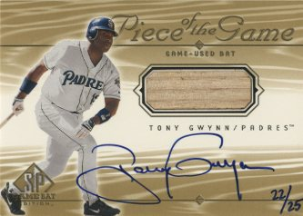 2001 SP Game Bat Edition Piece of the Game Autograph Gold #STGW Tony Gwynn