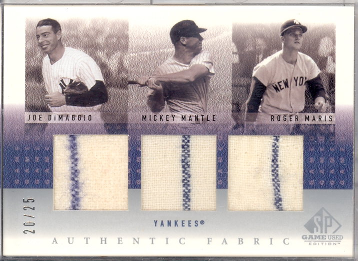 2001 SP Game Used Edition Authentic Fabric Trios #DMM DiMag/Mantle/Maris