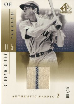 2001 SP Game Used Edition Authentic Fabric 2 #JDI Joe DiMaggio