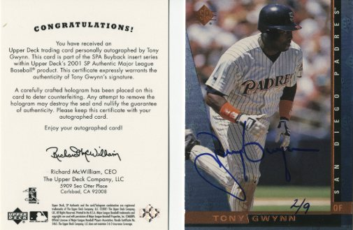 2001 SP Authentic BuyBacks #41 Tony Gwynn 97/9