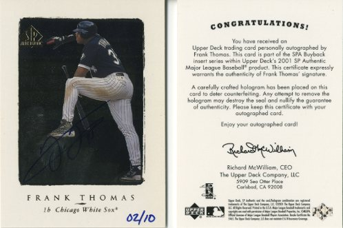 2001 SP Authentic BuyBacks #102 Frank Thomas 98/10