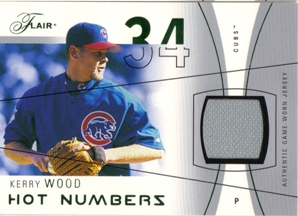 2004 Flair Hot Numbers Game Used Green #KW Kerry Wood