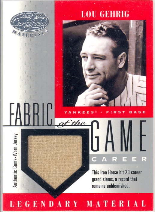 2001 Leaf Certified Materials Fabric of the Game #1CR Lou Gehrig/23