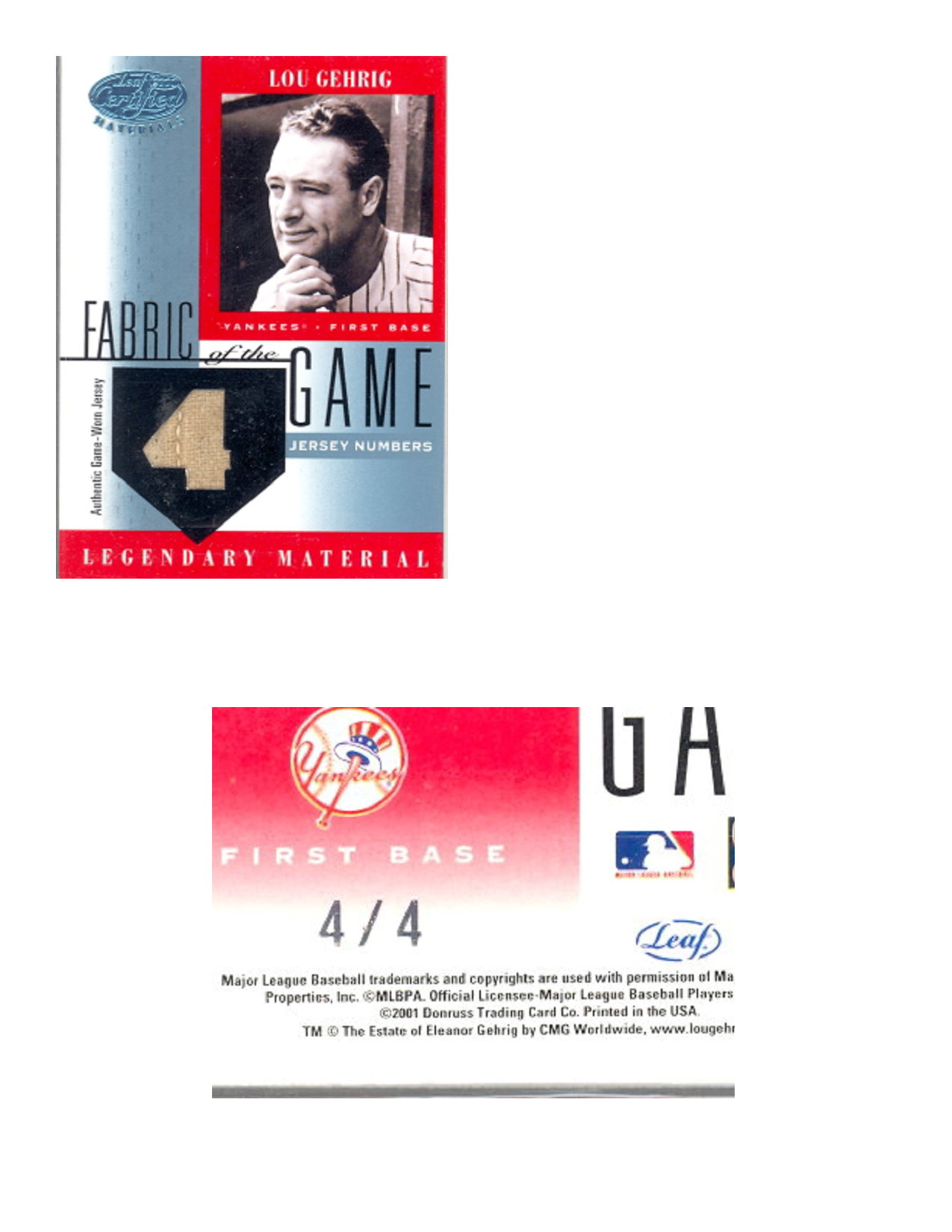 2001 Leaf Certified Materials Fabric of the Game #1JN Lou Gehrig/4