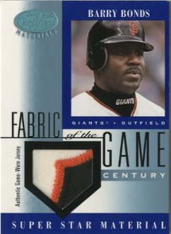 2001 Leaf Certified Materials Fabric of the Game #44CE Barry Bonds/21