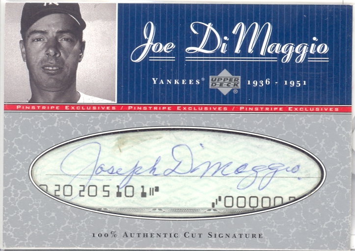 2001 Upper Deck Pinstripe Exclusives DiMaggio Memorabilia #C5 J.DiMaggio Cut/5