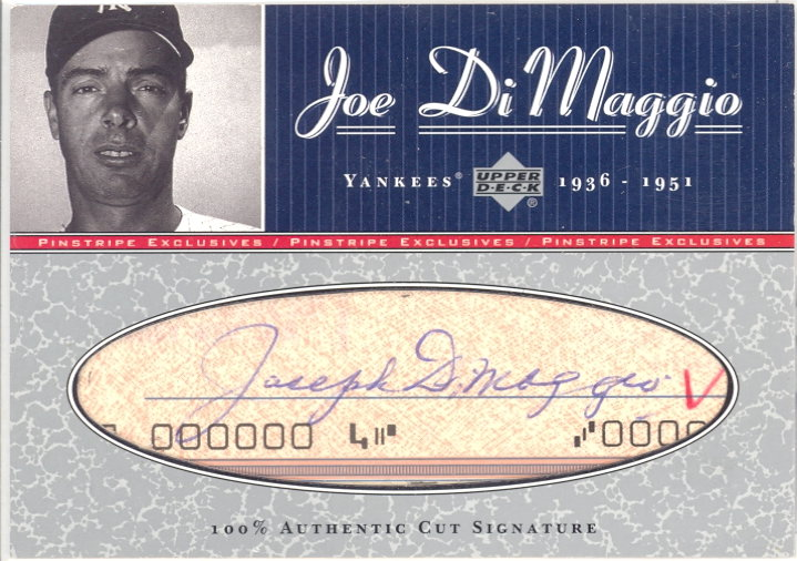 2001 Upper Deck Pinstripe Exclusives DiMaggio Memorabilia #C8 J.DiMaggio Cut/5