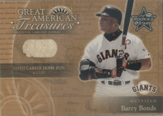 2001 Leaf Rookies and Stars Great American Treasures #GT12 B.Bonds 500 HR Ball/25 *