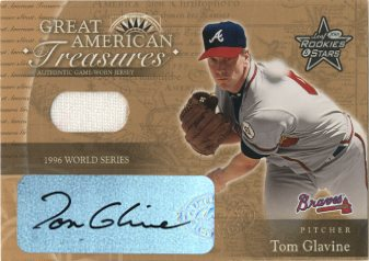 2001 Leaf Rookies and Stars Great American Treasures Autograph #GT6 Tom Glavine 96 WS Jsy