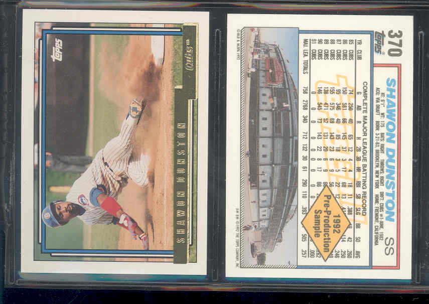 1992 Topps Gold Pre-Production Sheet #370 Shawon Dunston