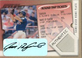 2001 Studio Round Trip Tickets #RT19 Ivan Rodriguez AU