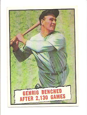 1961 Topps #405 Lou Gehrig Streak front image
