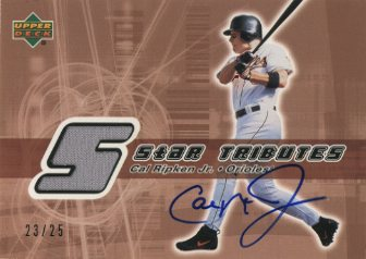 2002 Upper Deck Rookie Update Star Tributes Signatures Copper #CR Cal Ripken