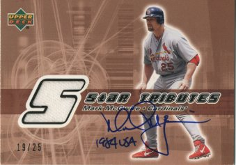 2002 Upper Deck Rookie Update Star Tributes Signatures Copper #MM Mark McGwire