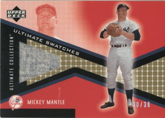 2002 Ultimate Collection Game Jersey Tier 2 Gold #MM Mickey Mantle