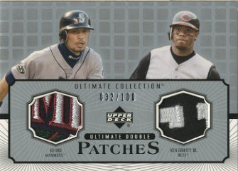 2002 Ultimate Collection Patch Card Double #IG Ichiro Suzuki/Ken Griffey Jr.