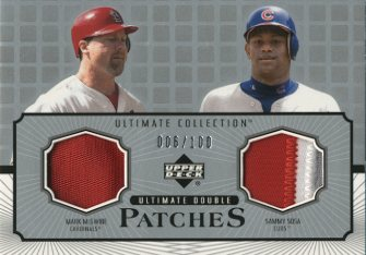2002 Ultimate Collection Patch Card Double #MS Mark McGwire/Sammy Sosa