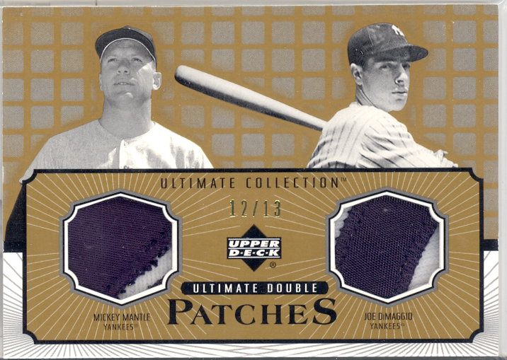 2002 Ultimate Collection Patch Card Double Gold #MD Mickey Mantle/Joe DiMaggio/13