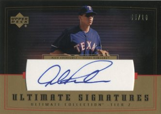 2002 Ultimate Collection Signatures Tier 2 Gold #AR2 Alex Rodriguez