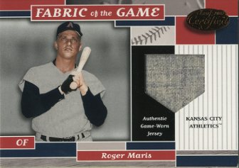2002 Leaf Certified Fabric of the Game #8BA Roger Maris A's/10