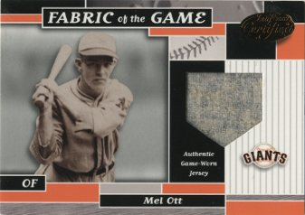 2002 Leaf Certified Fabric of the Game #10BA Mel Ott/5
