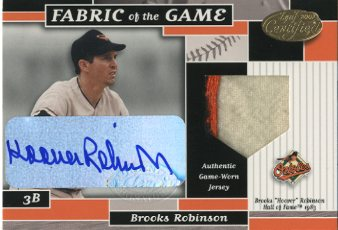 2002 Leaf Certified Fabric of the Game #13INA Brooks Robinson HOF 83 AU/5