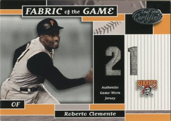 2002 Leaf Certified Fabric of the Game #41JN Roberto Clemente/21