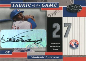 2002 Leaf Certified Fabric of the Game #140JNA Vladimir Guerrero AU/5