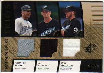 2008 SPx Winning Trios #WHB Vernon Wells/Roy Halladay/A.J. Burnett