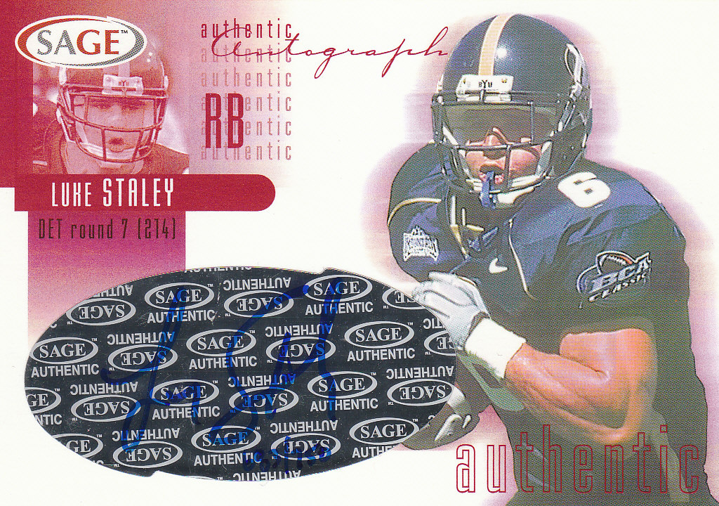 2002 SAGE Autographs Red #A38 Luke Staley/750