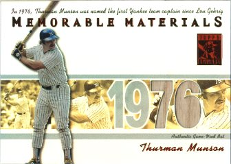 2002 Topps Tribute Memorable Materials Jersey Number #TM Thurman Munson Bat/15