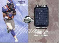 1999 Fleer Mystique Feel the Game Jersey #1, Terrell Davis /545,