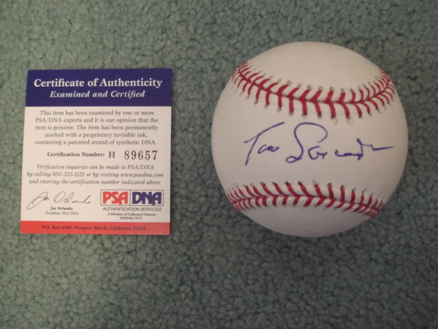 Tom Lasorda Autographed Official MLB Baseball With PSA COA