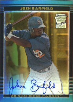 2002 Bowman Chrome Gold Refractors #390 Josh Barfield AU A