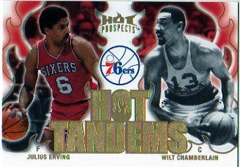2008-09 Hot Prospects Hot Tandems #HT14 Julius Erving/Wilt Chamberlain