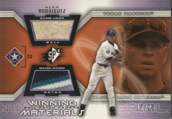 2002 SPx Winning Materials Ball Patch Combos #PCAR Alex Rodriguez