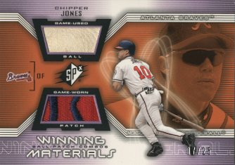 2002 SPx Winning Materials Ball Patch Combos #PCCJ Chipper Jones